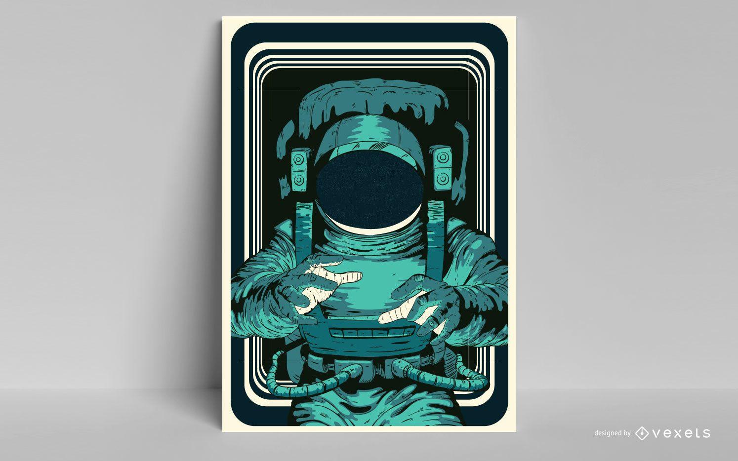 Diseño de cartel de astronauta