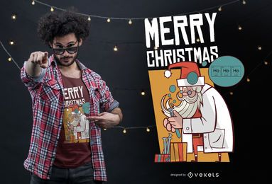 Design de t-shirt de cientista do Papai Noel