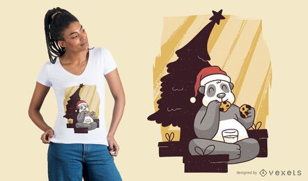 Design de t-shirt de Natal de panda