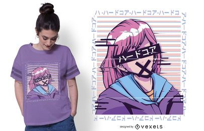 Diseño de camiseta Glitch anime girl