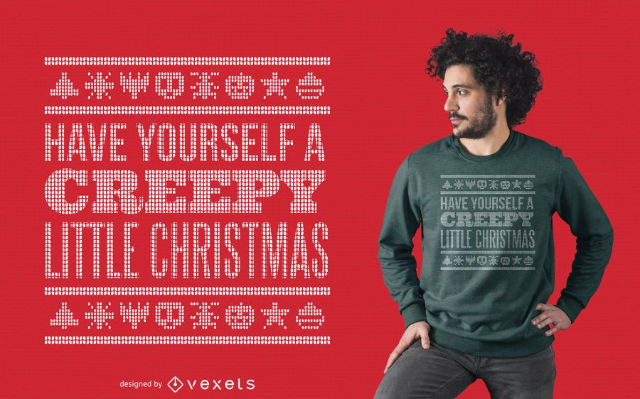 Creepy ugly sweater t-shirt design