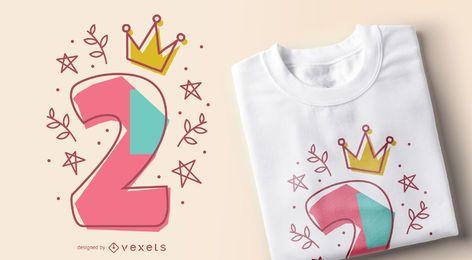 Editable T-Shirt Entwurf der Geburtstagszahl
