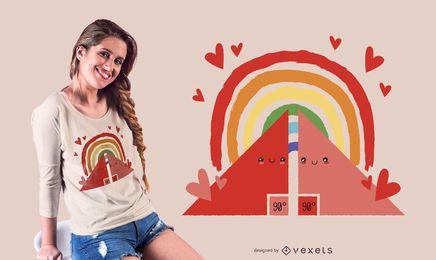 Diseño de camiseta de triángulos arcoiris