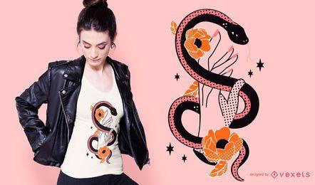 Diseño de camiseta de mano de serpiente