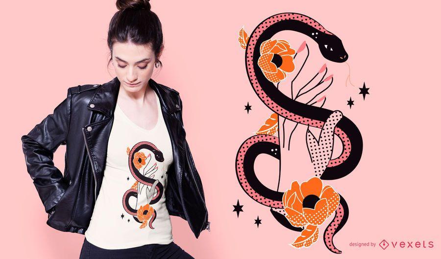 Snake hand t-shirt design