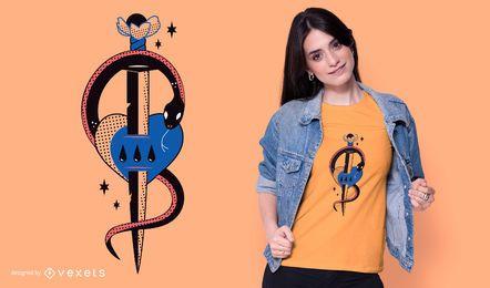 Diseño de camiseta de espada de serpiente