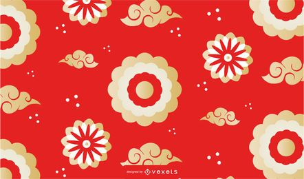 Chinese clouds flowers pattern design