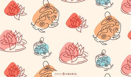Desenho de padrão de peixe koi chinês