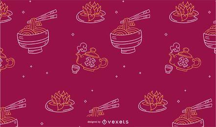 Design de padrão de comida do ano novo chinês