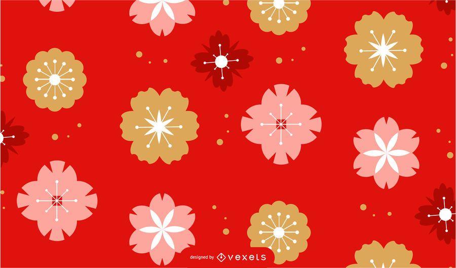 Desenho de padrão de flores de ano novo chinês