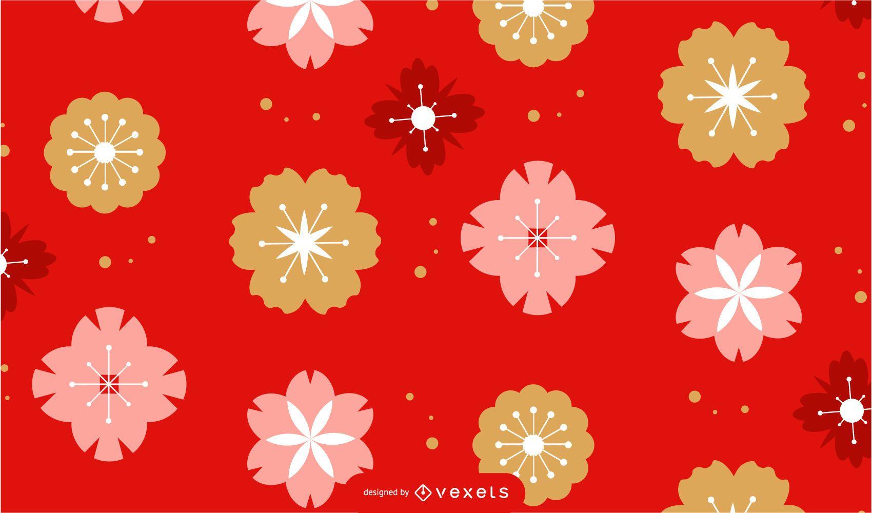 Diseño de patrón de flores de año nuevo chino