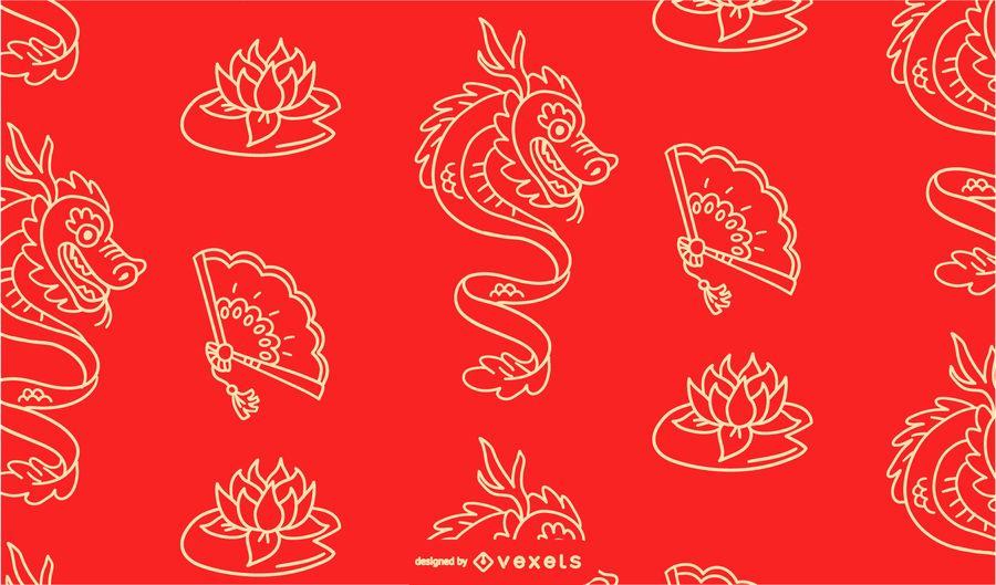 Chinesisches Drachemusterdesign des neuen Jahres