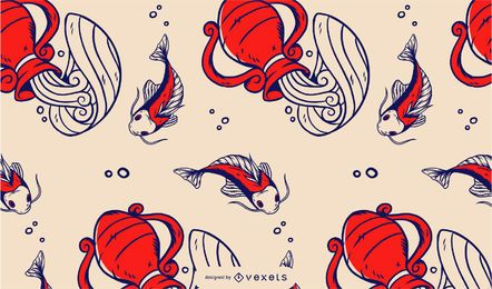 Chinese fishes pattern design