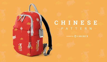 Design de padrão de rato bonito chinês
