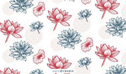 Diseño de estampado de flores chino