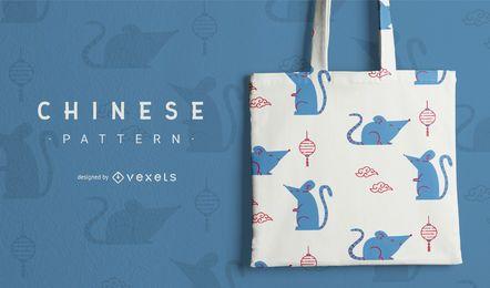 Design de padrão bonito rato chinês
