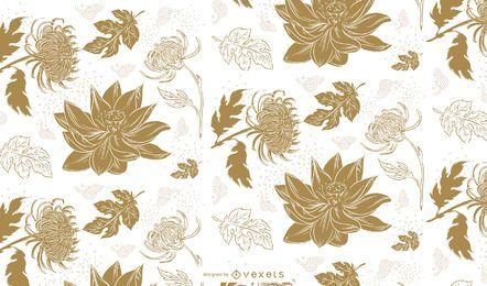 Diseño de patrón lindo flores chinas