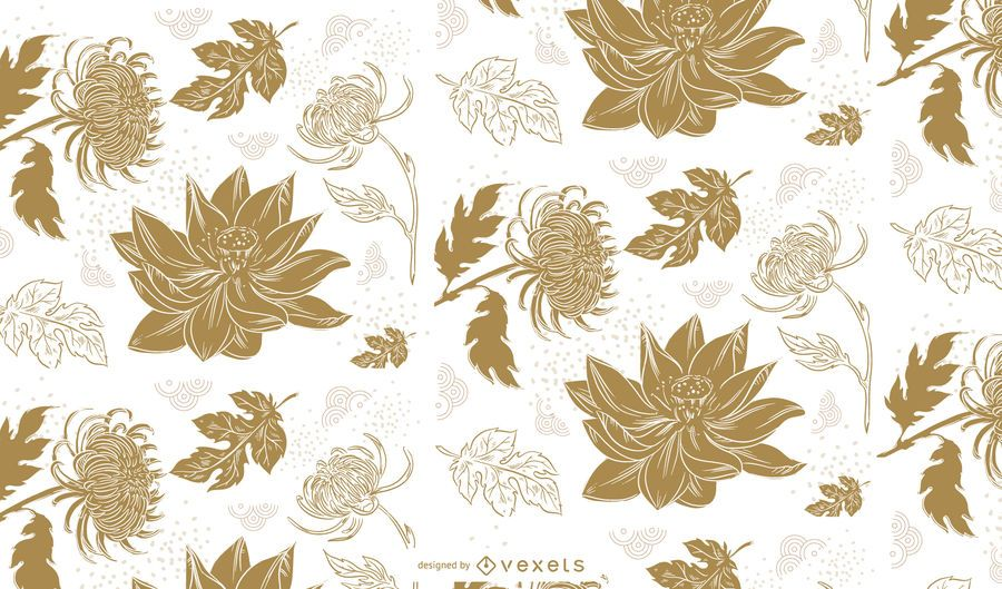 Chinese flowers cute pattern design
