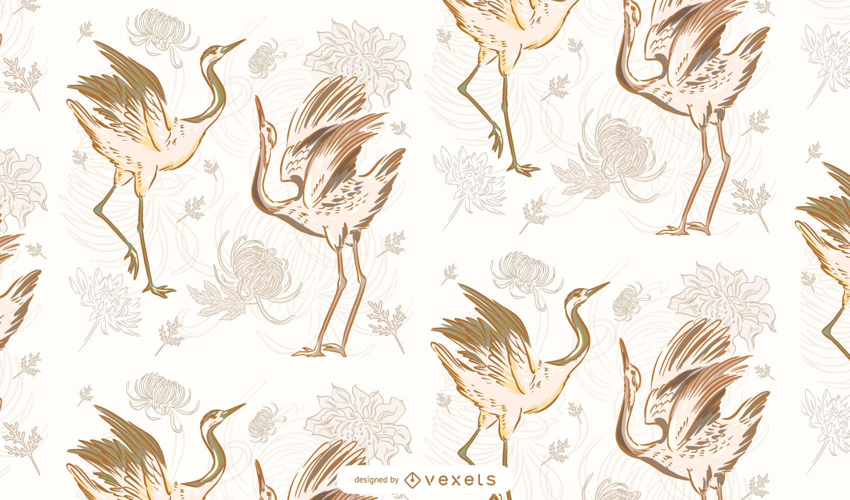 Chinese cranes pattern design