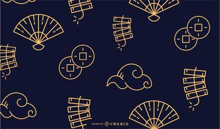 Design de padrão de traço chinês