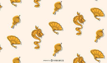 Diseño de patrón amarillo año nuevo chino