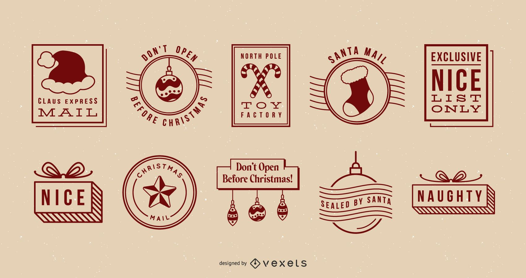 Christmas postal seals set