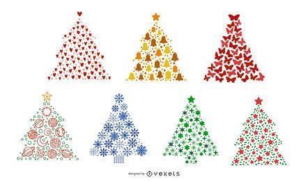 Conjunto colorido de árvores de Natal