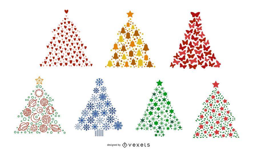 Colorful christmas trees set
