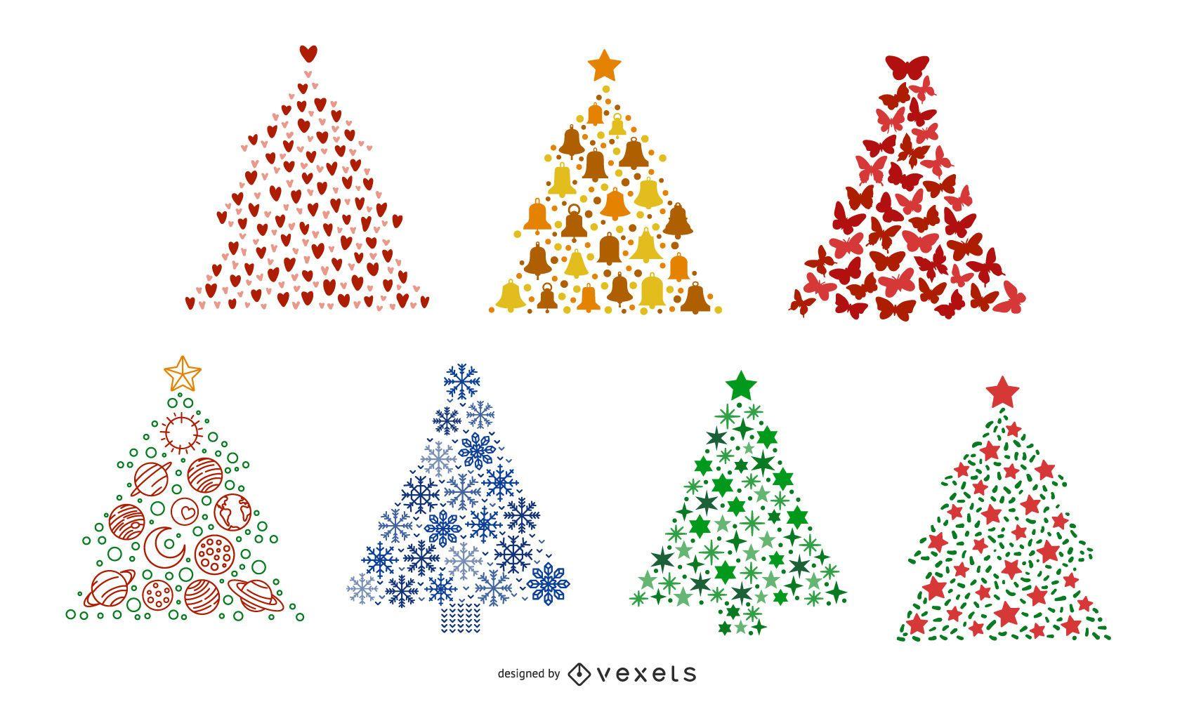 Conjunto de coloridos árboles de navidad
