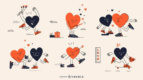 Conjunto de caracteres de corações