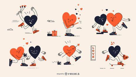 Conjunto de caracteres de corazones