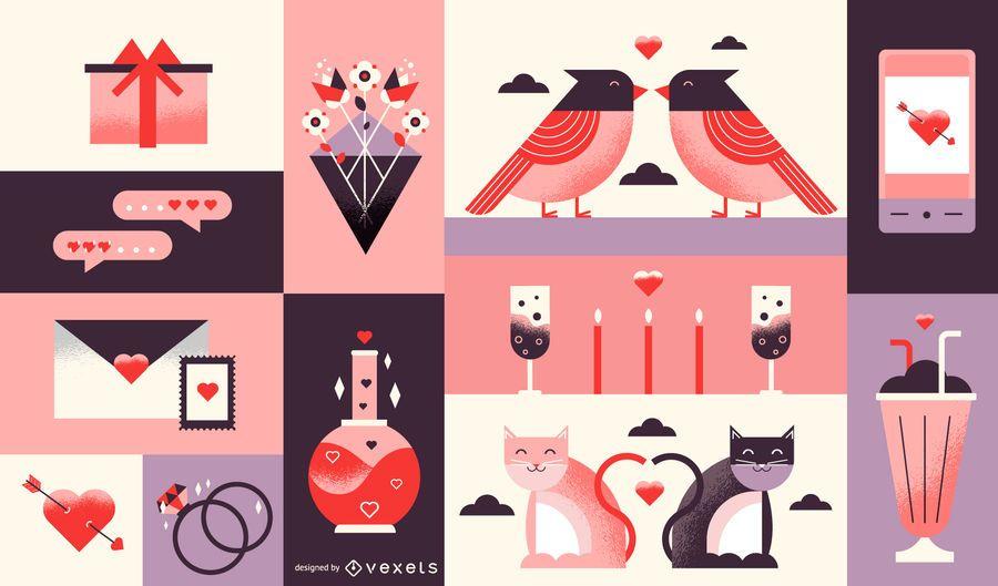 Desenho de composição do dia dos namorados