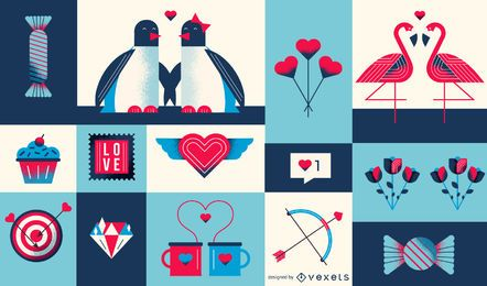 Valentine's day geometric composition