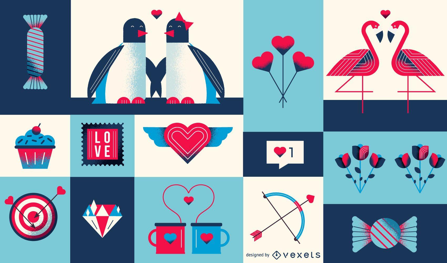Geometrische Komposition zum Valentinstag