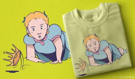 Diseño de camiseta chica corona cayendo