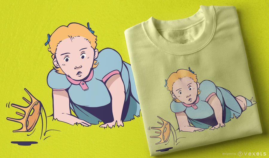 Girl falling crown t-shirt design