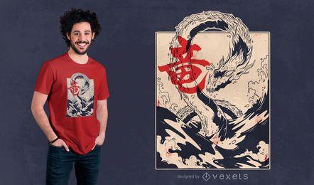 Design de t-shirt do dragão do mar