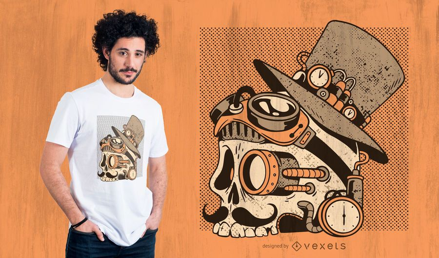 Skull steampunk t-shirt design