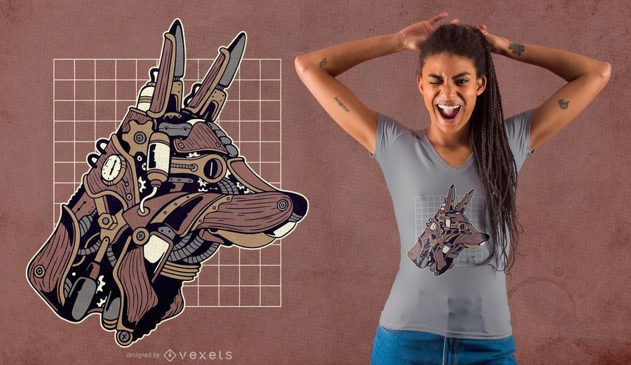 Diseño de camiseta steampunk de lobo