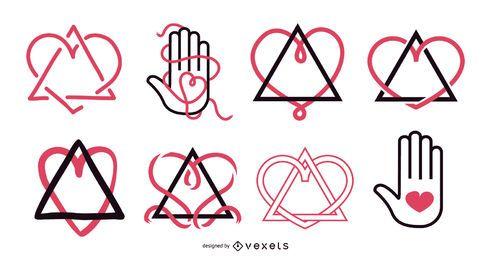 Conjunto de design de símbolo de adoção