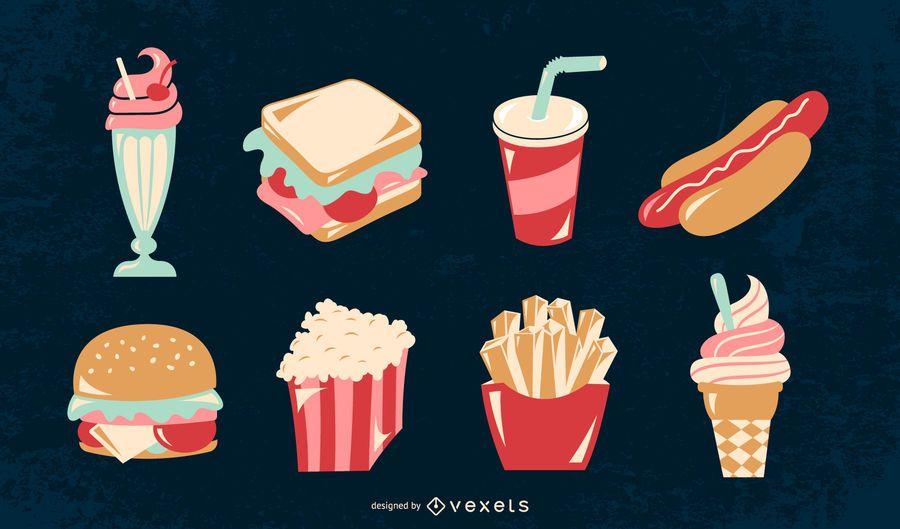Conjunto de ilustración de comida retro americana