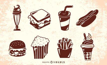 Amerikanischer Retro- Nahrungsmittelschattenbild-Satz