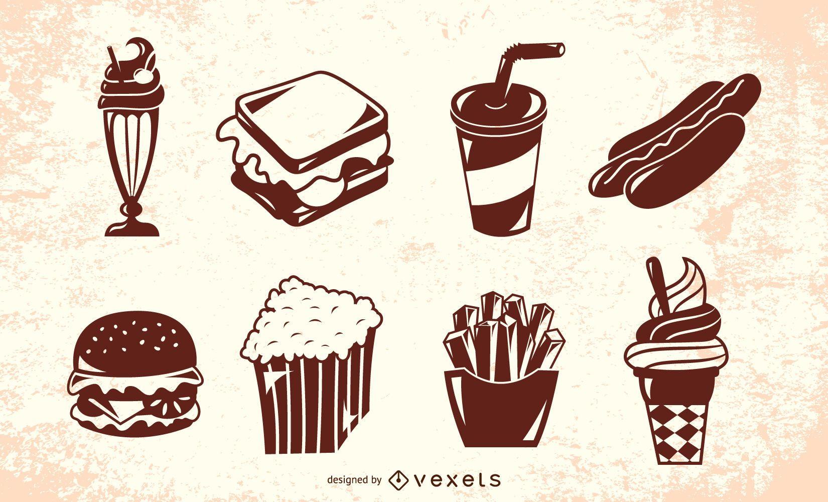 Conjunto de silueta de comida retro americana