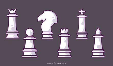 Juego de piezas de ajedrez blanco