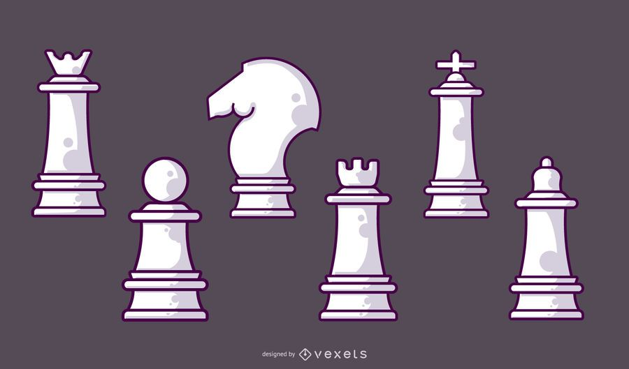 Conjunto de peças brancas de xadrez