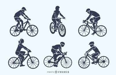 Conjunto de silueta de ciclista
