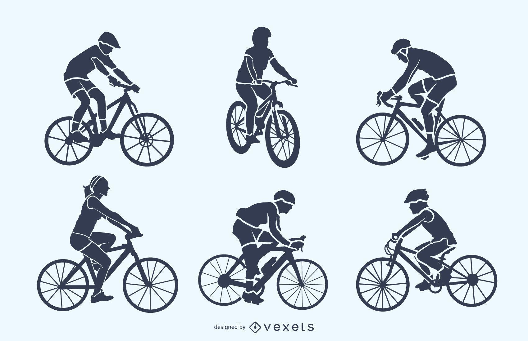 Conjunto de silhueta de ciclista