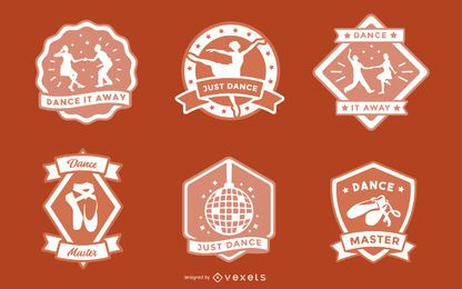 Conjunto de design de distintivos de dança