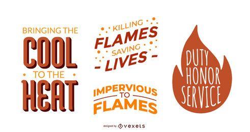 Conjunto de letras de citação de bombeiros