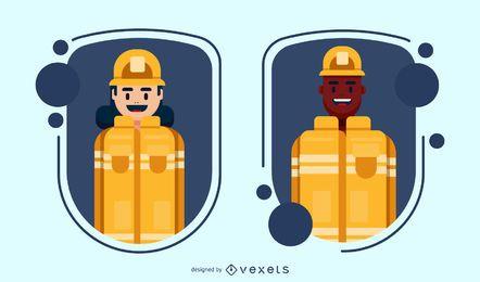 Conjunto de distintivos de personagem de bombeiro